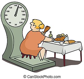 Fat woman on scales eats a lot of food. Funny little men.