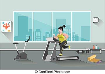 Fat woman running on a treadmill