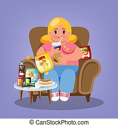 Fat woman sitting in the armchair and eating fast food