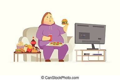 Fat woman watching TV - cartoon people character isolated illustration
