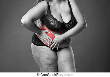 Fat woman with appendicitis attack, abdominal pain, stomach ache, overweight female body on gray background