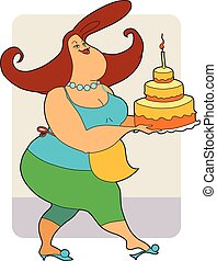 Fat woman with cake. Vector illustration.