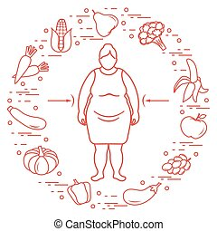 Fat woman with healthy food around her. Healthy eating habits.