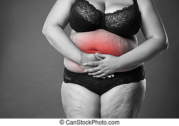 Fat woman with menstrual pain, endometriosis or cystitis, stomach ache, overweight female body on gray background