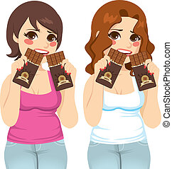 Fat Women Eating Chocolate Guilt - Two fat women eating two...