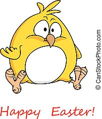 Fat yellow chicken wishing you Happy Easter - Cartoon vector...