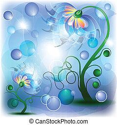 fata, blu, mamma, e, bambino, fiori