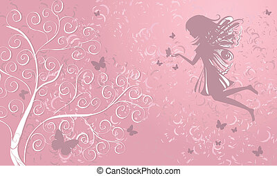 fata, con, farfalle, appresso, uno, albero