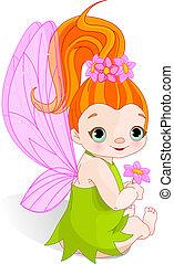 fata, con, fiore