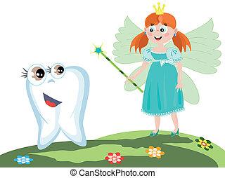 fata dente, con, bacchetta magica
