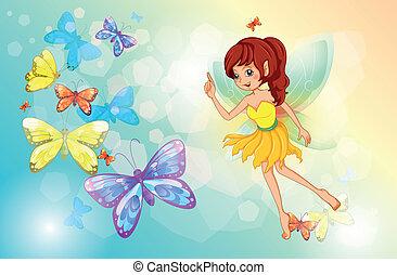 fata, farfalle, colorito