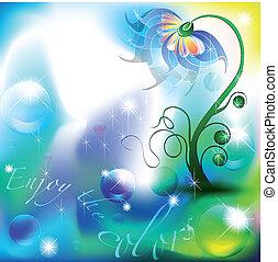 fata, fiore, in, uno, blu verde, colorare, tonalità, fondo