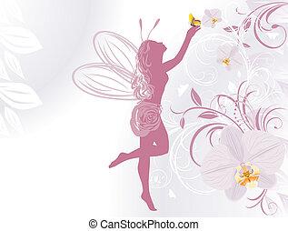 fata, fondo, orchidee
