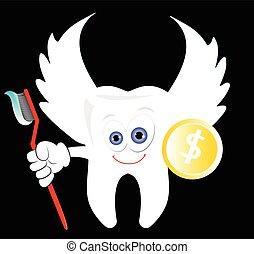 fata, moneta, dente