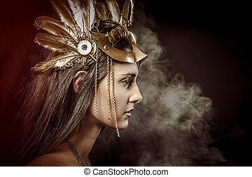 fata, regina, giovane, con, dorato, maschera, antico, dea