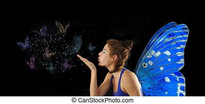fata, soffiando, farfalle