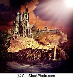 fata, tale., fantasia, castello, e, villaggio
