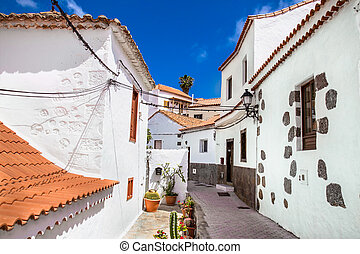 Fataga city streets on  Gran Canaria. Spain.
