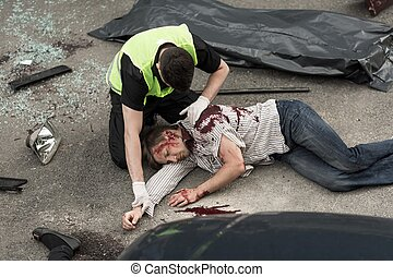 Picture presenting fatal accident on the road