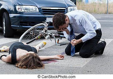 Fatal road accident - Horizontal view of a fatal road ...