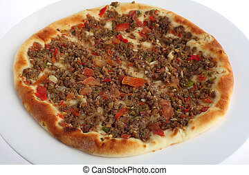 Fatayah with meat topping - A fataya Arab bread, topped with...