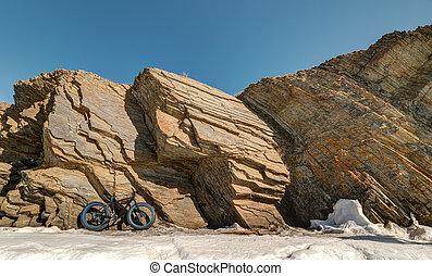 fatbike., gorda, pneu, bike.