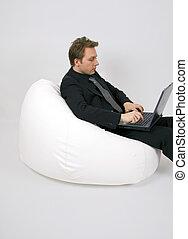 fatboy, homem, negócio, sentando