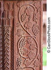 fatehpur, winogrono, sikri, pałac, rzeźby, uttar pradesh, agra
