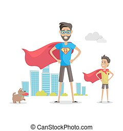 Father and Adorable Son Superheroes. Fatherhood