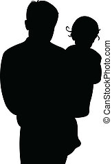 father and baby girl together, silhouette vector
