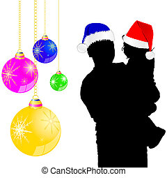father and baby with a new year hat illustration
