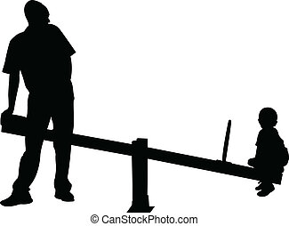 father and boy playing, seesaw,