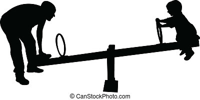 father and boy playing, seesaw, sil