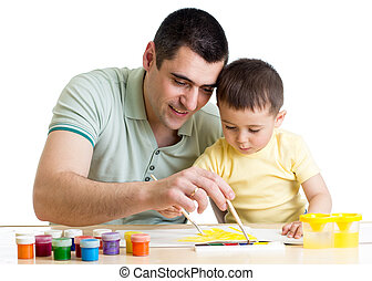 father and child boy paint together