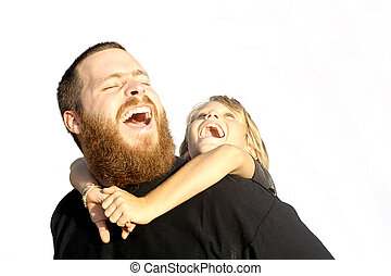 father and child laughing together, happy families