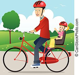 Father and child on bicycle.eps
