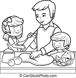 Father and children cooking pizza in the kitchen.
