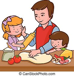 Father and children cooking pizza in the kitchen