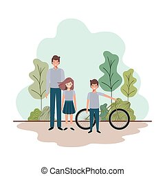 father and children with bicycle in landscape