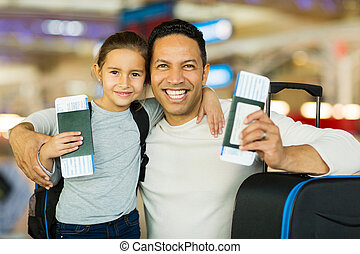 father and daughter at airport - portrait of father and...