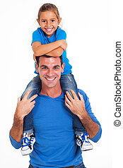 father and daughter - cheerful daughter sitting on father's...