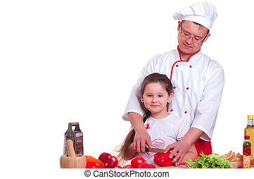 Father and daughter cooking together