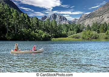 Fishing in the Sierra Mountain Lakes - Father and Daughter...
