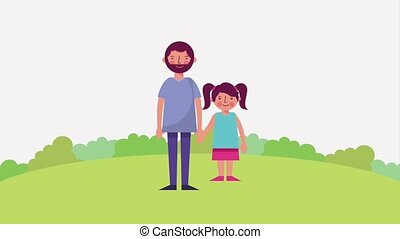 father and daughter holding hands in the park