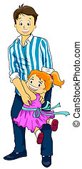 Father and Daughter - Illustration of a Cute Little Girl...