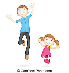 Father and Daughter - illustration of jumping 3d father and...