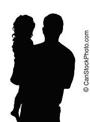 Father And Daughter - Silhouette of a man holding a small...