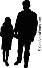 father and daughter together, silhouette vector