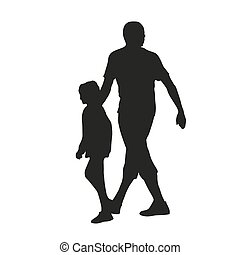 Father and daughter. Vector silhouette