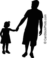 father and daughter walking, silhouette vector